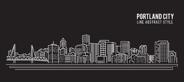 Alignement de paysage urbain conception d'illustration de vecteur d'art - ville de Portland illustration de vecteur