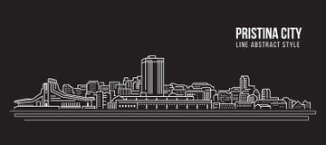 Alignement de paysage urbain conception d'illustration de vecteur d'art - ville de Pristina illustration de vecteur