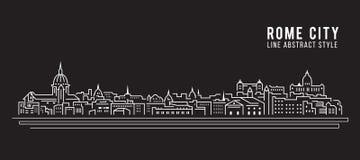 Alignement de paysage urbain conception d'illustration de vecteur d'art - ville de Rome illustration libre de droits