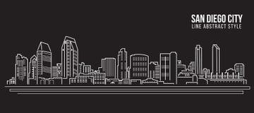 Alignement de paysage urbain conception d'illustration de vecteur d'art - ville de San Diego Photographie stock libre de droits