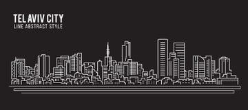 Alignement de paysage urbain conception d'illustration de vecteur d'art - ville de Tel Aviv illustration stock