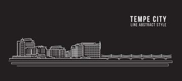 Alignement de paysage urbain conception d'illustration de vecteur d'art - ville de Tempe Photos stock