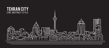 Alignement de paysage urbain conception d'illustration de vecteur d'art - ville de Téhéran Photo libre de droits
