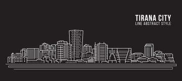 Alignement de paysage urbain conception d'illustration de vecteur d'art - ville de Tirana illustration libre de droits