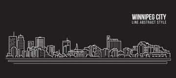 Alignement de paysage urbain conception d'illustration de vecteur d'art - ville de Winnipeg illustration stock