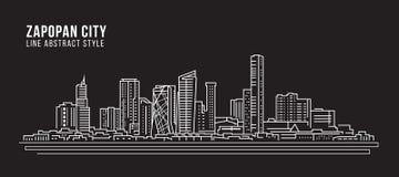 Alignement de paysage urbain conception d'illustration de vecteur d'art - ville de Zapopan illustration de vecteur