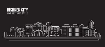 Alignement de paysage urbain conception d'illustration de vecteur d'art - ville de Bichkek illustration de vecteur