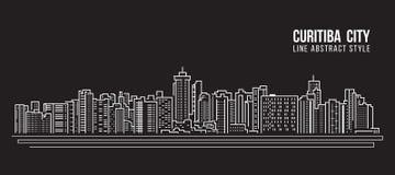 Alignement de paysage urbain conception d'illustration de vecteur d'art - ville de Curitiba Image libre de droits
