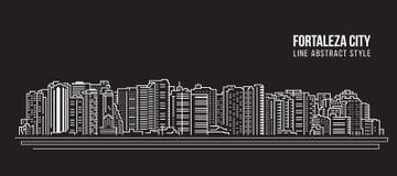 Alignement de paysage urbain conception d'illustration de vecteur d'art - ville de Fortaleza Photographie stock libre de droits