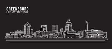 Alignement de paysage urbain conception d'illustration de vecteur d'art - ville de Greensboro illustration libre de droits