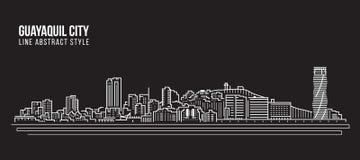 Alignement de paysage urbain conception d'illustration de vecteur d'art - ville de Guayaquil Photographie stock
