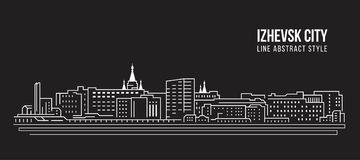 Alignement de paysage urbain conception d'illustration de vecteur d'art - ville d'izhevsk illustration stock
