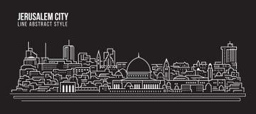 Alignement de paysage urbain conception d'illustration de vecteur d'art - ville de Jérusalem Image stock