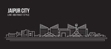 Alignement de paysage urbain conception d'illustration de vecteur d'art - ville de Jaipur illustration stock