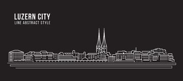 Alignement de paysage urbain conception d'illustration de vecteur d'art - ville de Lucerne Photographie stock