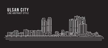 Alignement de paysage urbain conception d'illustration de vecteur d'art - ville d'Ulsan Image libre de droits