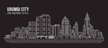 Alignement de paysage urbain conception d'illustration de vecteur d'art - ville d'Urumqi illustration stock
