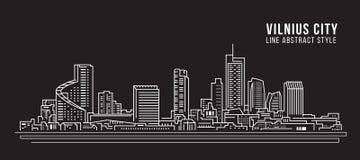 Alignement de paysage urbain conception d'illustration de vecteur d'art - ville de Vilnius illustration de vecteur