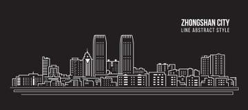 Alignement de paysage urbain conception d'illustration de vecteur d'art - ville de Zhongshan illustration libre de droits
