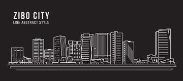 Alignement de paysage urbain conception d'illustration de vecteur d'art - ville de Zibo illustration libre de droits