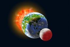 Alignement de Sun, de terre et de lune images libres de droits
