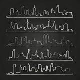 Alignement de ville Ensemble urbain tiré par la main de paysage urbain de vecteur illustration de vecteur