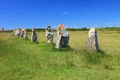 Alignements de Lagatjar, France. Alignments de Lagatjar, Paleolithic stone rows in the department of Finistere, Brittany, France royalty free stock photos