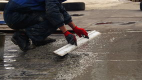Alignment Concrete Screed on the Roof stock video footage