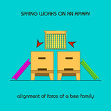 Alignment of force of a bee family (spring work) Royalty Free Stock Photos