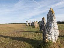Alignment of megaliths on broad grass. Lagatjar, Camaret-sur-Mer, Francia - Aug 5, 2016: Alignment of megaliths on broad grass. Long shadows in the moments Royalty Free Stock Photos