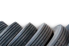 Alignment of tires in white background, used tires Royalty Free Stock Photography