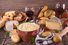 Aligot, cheese,bread. And wine Royalty Free Stock Image