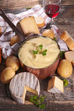 Aligot,cheese fondue. And wine Stock Image