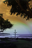 Alii Cross. A cross at a grave site in Kona,Hawaii Royalty Free Stock Photos