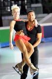 Alijona e pisco de peito vermelho na concessão dourada do patim 2011 Fotografia de Stock Royalty Free