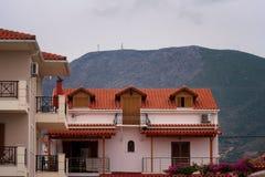 Alikanas, Zakynthos wyspy, Grecja †'Wrzesień 28, 2017: Typowy lato dom na Alikanas plaży, Zakynthos wyspa, Grecja Obrazy Stock