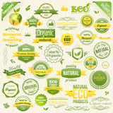 Aliment biologique de vecteur de collection, Eco, bio labels et éléments Éléments de logo pour la nourriture et la boisson Photographie stock libre de droits