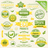 Aliment biologique de vecteur, Eco, bio étiquettes et éléments Photographie stock