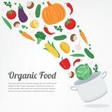 Aliment biologique Icônes végétales de nourriture Concept sain de consommation Vecteur Photo stock