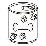 Aliment pour animaux familiers en boîte noir et blanc de schéma illustration stock