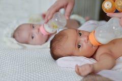 Alimentação dos gêmeos fotos de stock