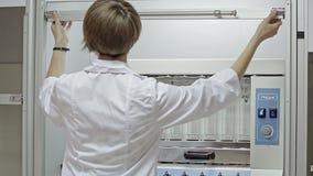Alimentación de prueba para la calidad de los animales en el laboratorio almacen de video