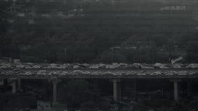Alimentación del CCTV del tráfico en el puente de la carretera almacen de video