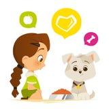 Alimentación linda de la niña un perro de perrito ilustración del vector