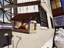 Alimentador caseiro do p?ssaro com alimento e p?o perto da janela da casa foto de stock