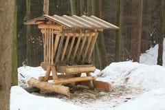 Alimentador de los animales en bosque del invierno Imagen de archivo