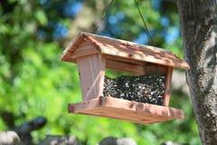 Alimentador de madeira do pássaro enchido com as sementes Imagem de Stock Royalty Free