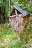 Alimentador de madeira para animais selvagens com hey na floresta do outono imagens de stock royalty free