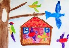 Alimentador del pájaro del ` s del pájaro en árbol Los pájaros del dibujo del ` s de los niños comen la comida del canal en árbol stock de ilustración