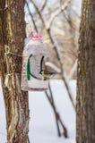 Alimentador para los pájaros en parque de la ciudad del invierno Foto de archivo